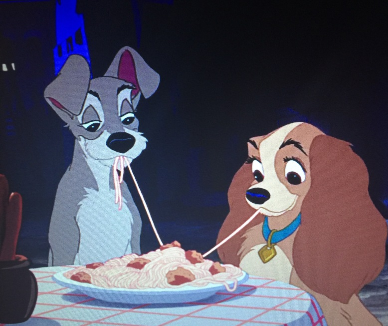 Moments after this scene, Lady and Tramp will throw up all that Spaghetti as their dog stomachs are not made to handle that many carbohydrates at once.
